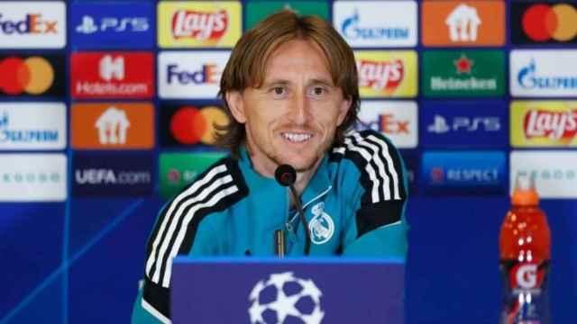 Luka Modric, durante la rueda de prensa previa en la Champions