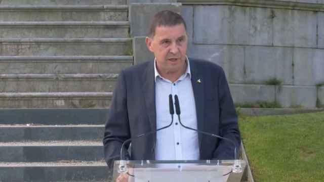 Arnaldo Otegi durante la declaración solemne.