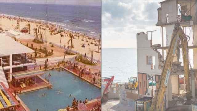 El Hotel de Arenales, durante su apertura y en el derribo este martes.