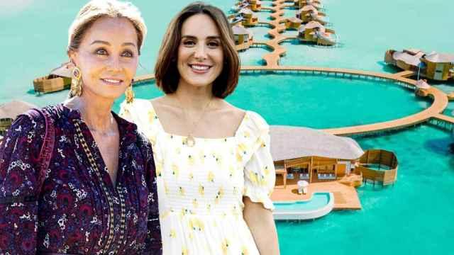 Isabel Preysler y Tamara Falcó junto al resort Soneva Jani de Maldivas, en un montaje de Jaleos.
