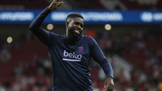 Samuel Umtiti, calentando con el Barça