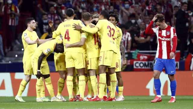 La celebración del gol de Mohamed Salah ante el Atlético de Madrid