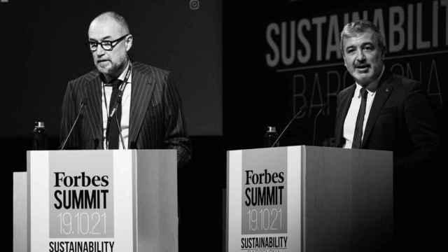 Andrés Rodríguez, presidente de SpainMedia y editor de Forbes, y Jaume Collboni, primer teniente de alcalde del ayuntamiento de Barcelona