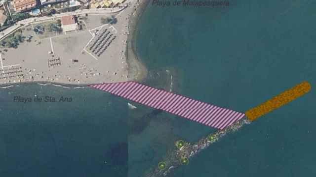 Imagen de la ampliación del dique de Malapesquera.