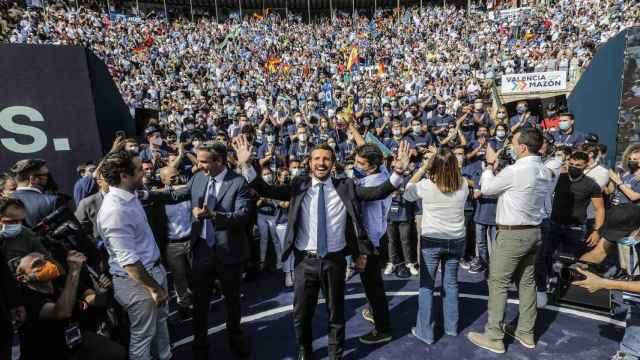 El presidente del PP, Pablo Casado, en el acto de clausura de la Convención Nacional del PP, en la Plaza de Toros de Valencia