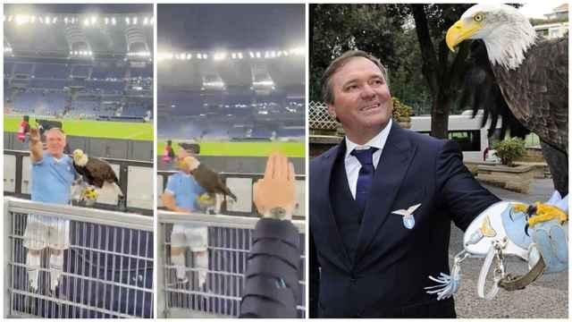 Juan Bernabé, el adiestrador español del águila de la Lazio, haciendo gestos fascistas
