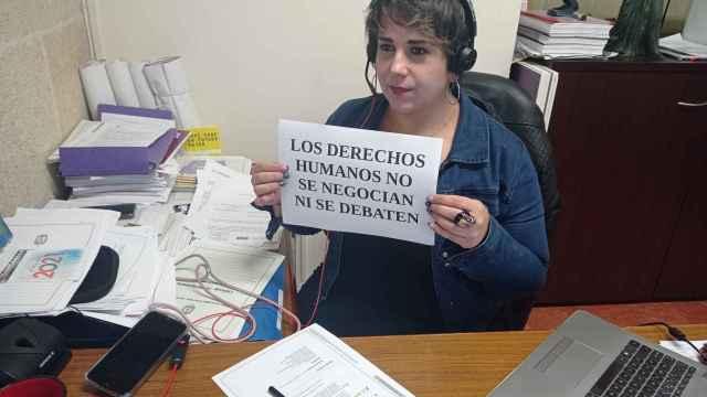 La concejal Vanessa Romero, en un pleno municipal. telemático.