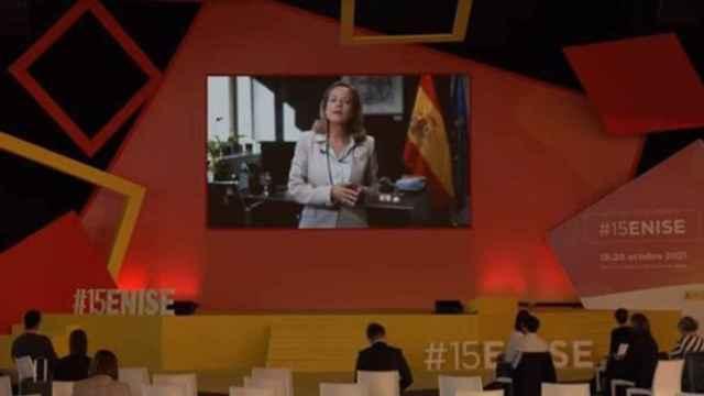 La vicepresidenta primera del Gobierno y ministra de Asuntos Económicos y Transformación Digital, Nadia Calviño, durante la clausura del #15ENISE. - EUROPA PRESS.