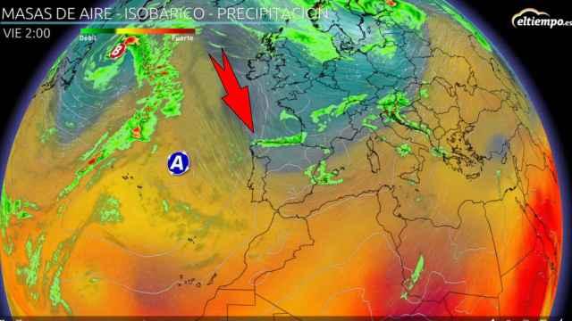 Las masas de aire frío entrando por el norte de la Península.