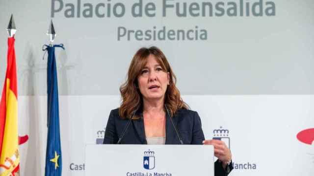 Blanca Fernández, consejera de Igualdad y portavoz del Gobierno de Castilla-La Mancha, este miércoles en rueda de prensa