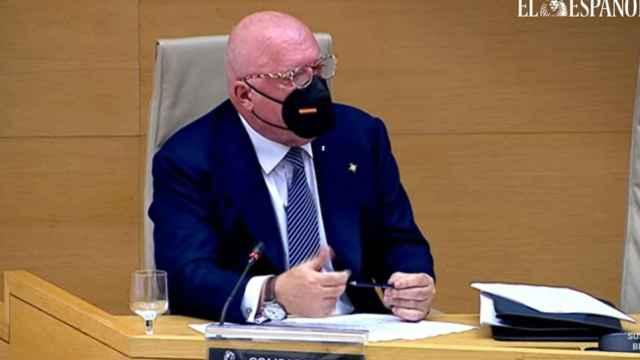 El comisario José Villarejo, este miércoles durante su comparecencia en el Congreso de los Diputados.