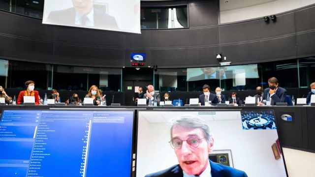 El presidente de la Eurocámara, David Sassoli, durante la conferencia de presidentes de este miércoles