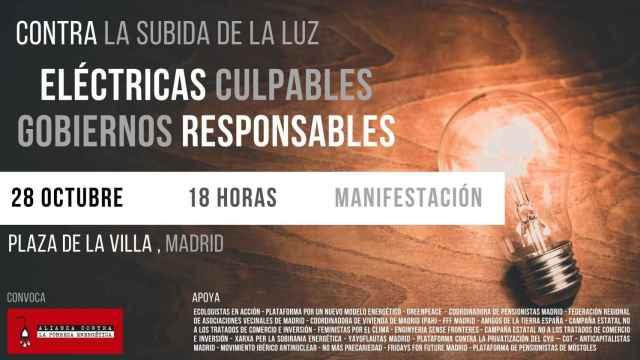 La manifestación contra la subida de la luz será el 28 de octubre en Madrid.