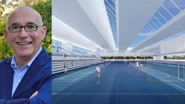 El alcalde de San Vicente, Jesús Villar, y su proyecto estrella, el pabellón deportivo.