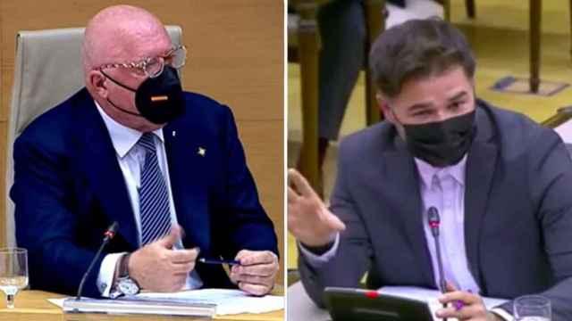 El excomisario Villarejo y Gabriel Rufián durante las preguntas.