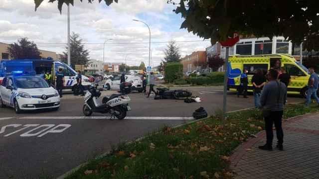 Accidente entre una moto y un vehículo en el polígono de San Cristóbal