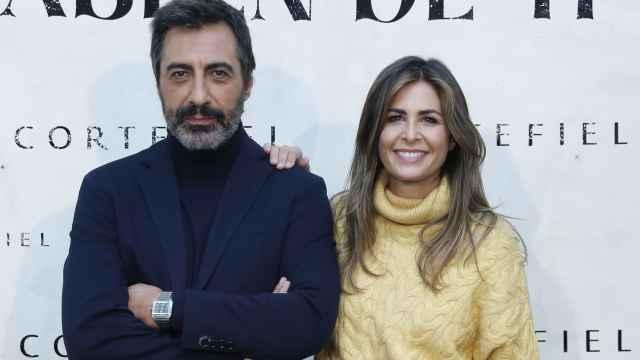 Nuria Roca y su marido Juan del Val durante la presentación de la nueva campaña de Cortefiel, 'Que hablen de ti', este jueves 21 de octubre.