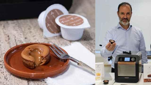 A la izquierda, uno de los pasteles de Tigoût junto a sus cápsulas y, a la derecha, Rodrigo Córdoba y el dispositivo.