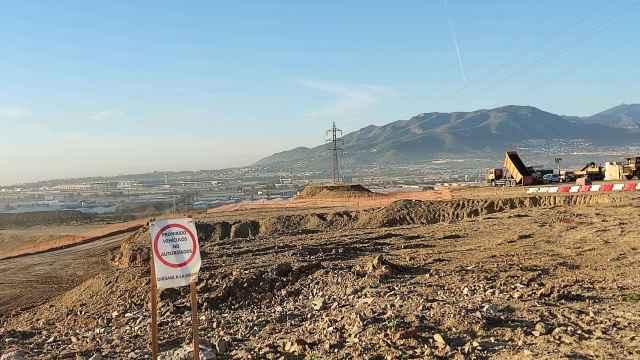 Vista de los trabajos de urbanización en Distrito Zeta, en Málaga.