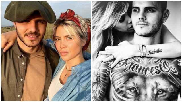 Collage de Mauro Icardi y Wanda Nara