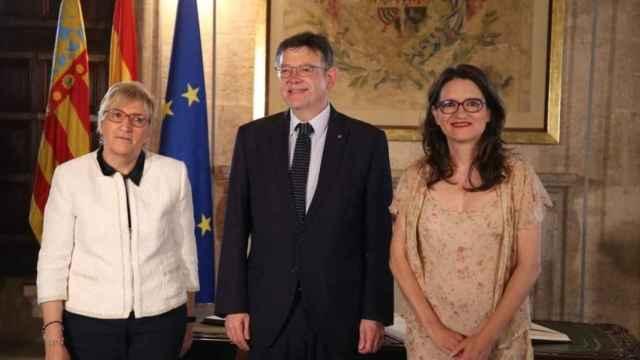 La consellera de Sanidad, Ana Barceló, junto a Ximo Puig y Mónica Oltra.