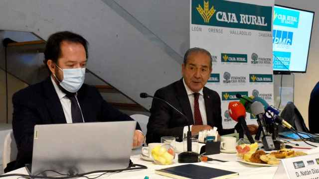 Cipriano García y Natán Díaz durante la presentación del estudio sobre la rehabilitación de Montelarreina