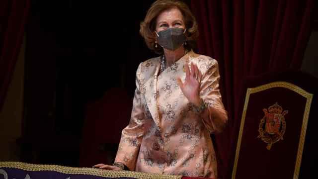 La reina Sofía en el palco del Teatro Campoamor en Oviedo.