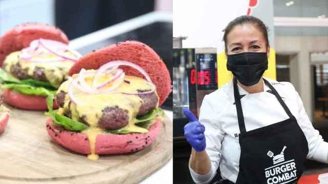 A la izquierda, la mejor hamburguesa 'gourmet' de España elaborada por la chef Vanessa San José (derecha).