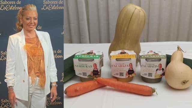 A la izquierda, Belén Esteban, durante la presentación de las tres cremas de verduras de 'Sabores de la Esteban' (derecha).