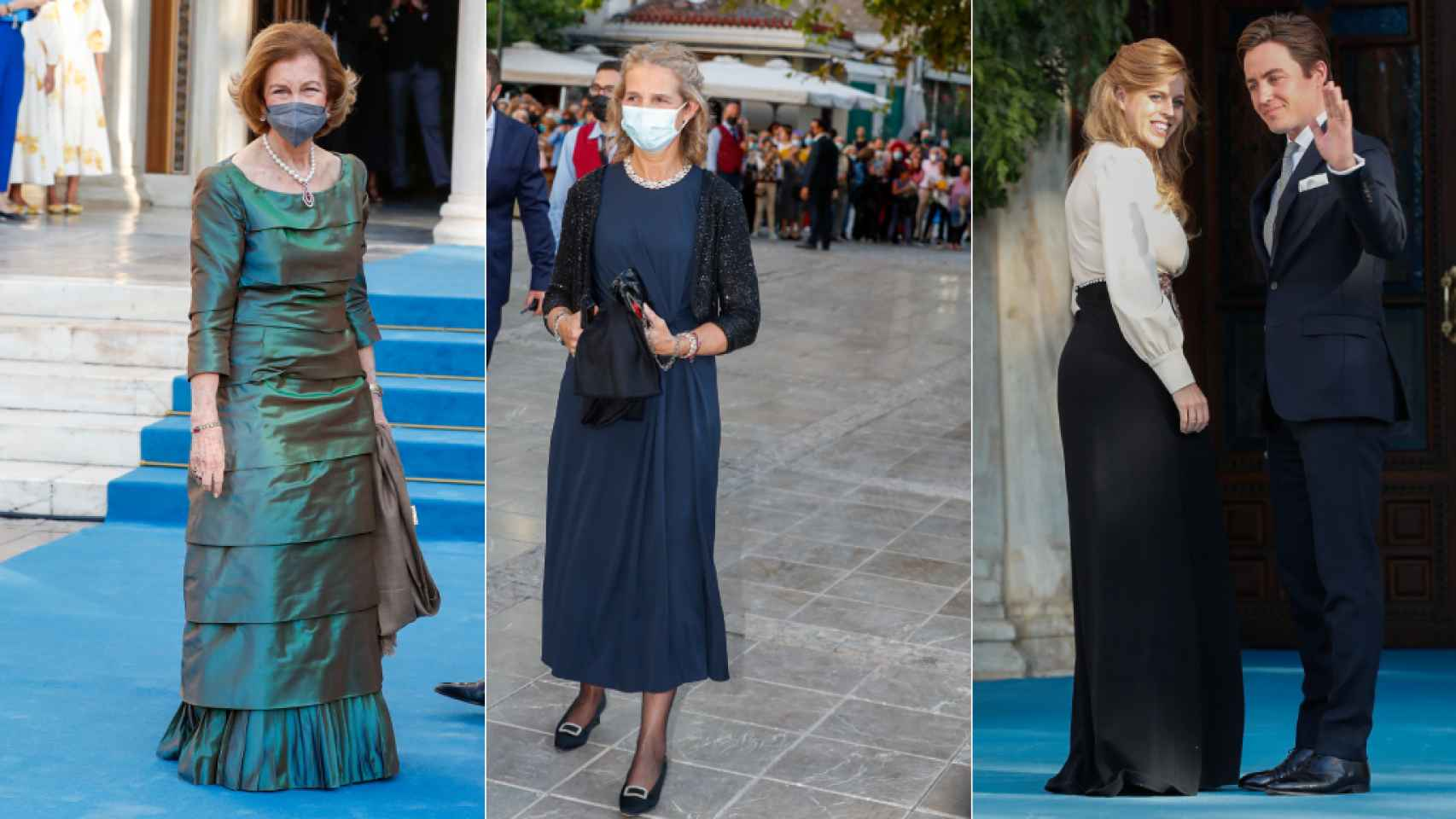 La reina Sofía, la infanta Elena, Beatriz de York y Edoardo Mapelli en la boda de Philippos de Grecia y Nina Flohr.