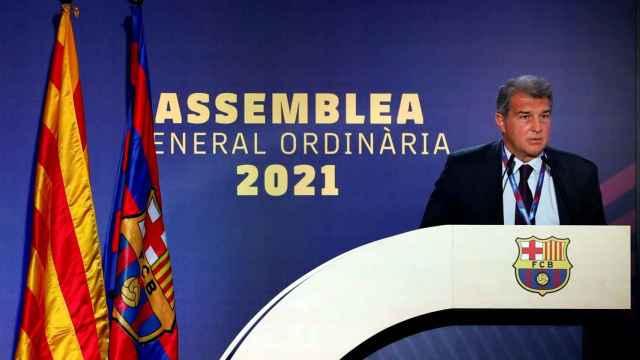 Joan Laporta, en la reanudación de la Asamblea de Socios Compromisarios del Barça