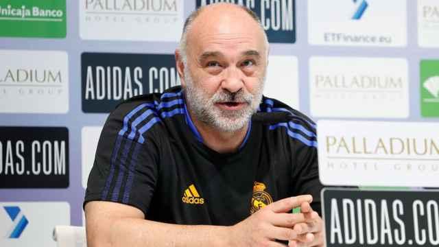 Pablo Laso, en rueda de prensa con el Real Madrid de Baloncesto
