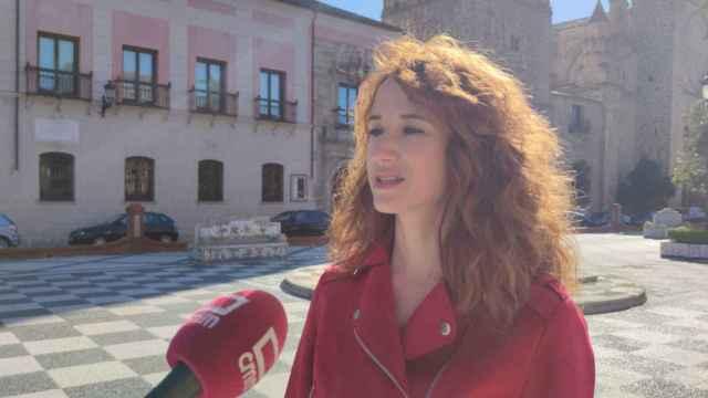 La diputada regional del PSOE Diana López, este sábado en Talavera.