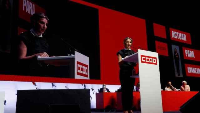 Yolanda Díaz, vicepresidenta del Gobierno durante el Congreso de CCOO (EFE).