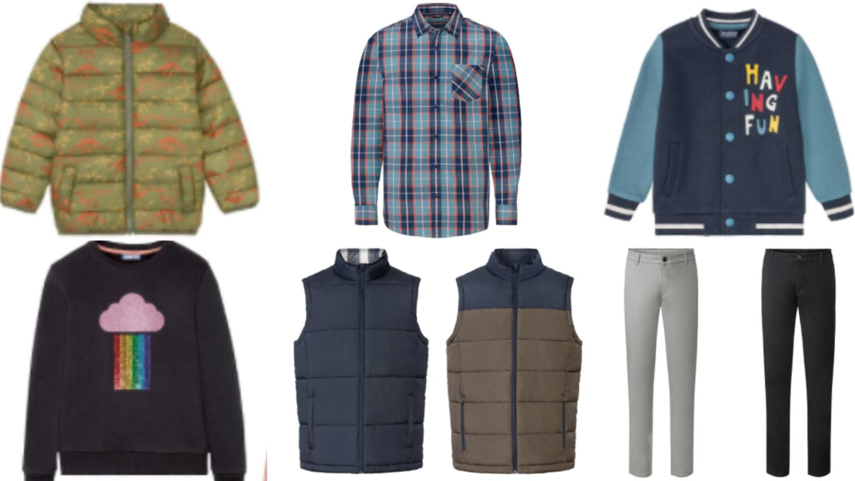 Algunas de las prendas que vende Lidl para esta temporada otoñal.