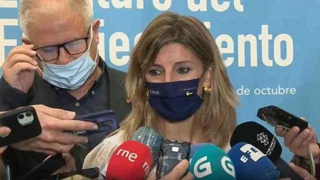 La vicepresidenta segunda y ministra de Trabajo, Yolanda Díaz, este lunes en Santiago de Compostela.