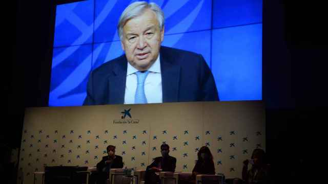 António Guterres, secretario general de la ONU, durante su intervención en el evento conmemorativo de ayer en el CaixaForum de Madrid.