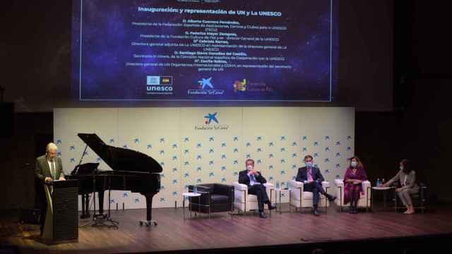 Una de las mesas de ayer durante la celebración del 75 aniversario de Naciones Unidas y UNESCO