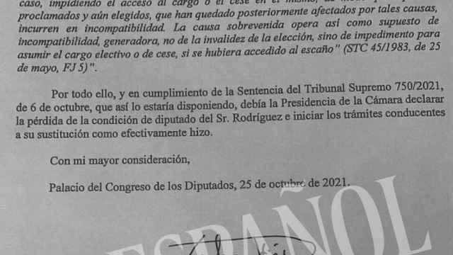 El escrito del secretario general del Congreso.