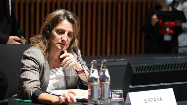 La vicepresidenta tercera, Teresa Ribera, durante la última reunión de ministros de Medio Ambiente de la UE