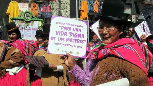 Mujeres bolivianas se manifiestan por el 8 de marzo.