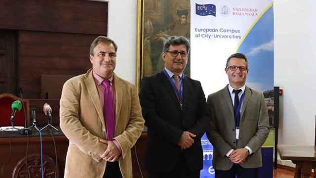 Raúl Sánchez Prieto,  Efrem Yildiz y Ludovic Thilly explicaron los objetivos del encuentro en el Colegio Arzobispo Fonseca