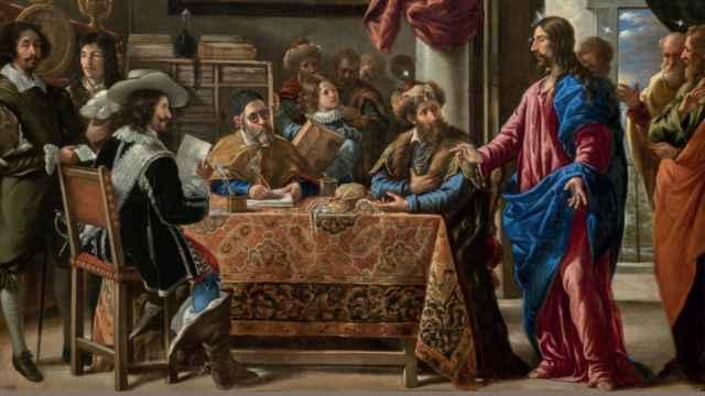 Detalle de la portada de la obra 'El mercado curial'.