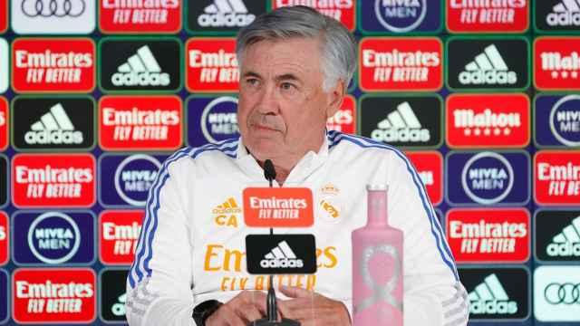 Carlo Ancelotti, en rueda de prensa de La Liga