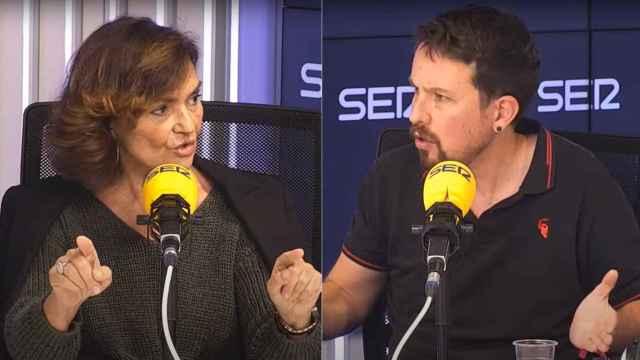 Los exvicepresidentes del Gobierno Carmen Calvo y Pablo Iglesias este lunes en la Cadena SER.