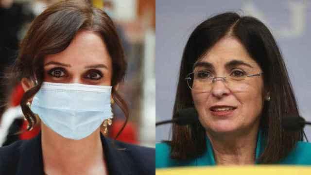La presidenta de la Comunidad de Madrid, Isabel Díaz Ayuso, y la ministra de Sanidad, Carolina Darias.