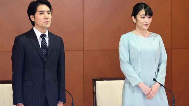 Mako y su marido, este martes.