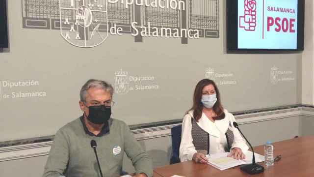 El portavoz socialista en la Diputación de Salamanca, Fernando Rubio, y la viceportavoz, Carmen Ávila