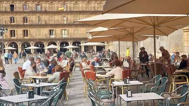 Terrazas en la Plaza Mayor de la capital salmantina
