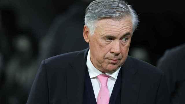 Carlo Ancelotti, en el banquillo del Santiago Bernabéu